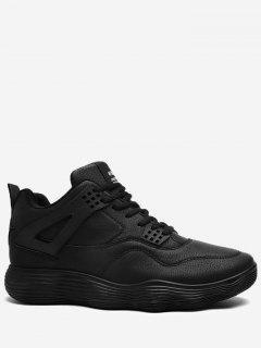Running Casual Leatherette Athletic Shoes - Black 43