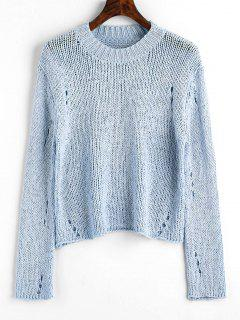 Pullover Ripped Hollow Out Sweater - Light Blue