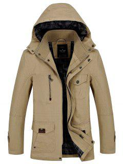 Casual Hooded Zipper Jacket - Khaki L