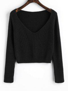 Pullover V Neck Cropped Sweater - Black