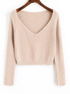 Pullover V Neck Cropped Sweater - Apricot