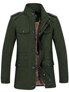 Epaulet Zippered Cargo Jacket - Army Green L