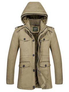 Hooded Zippered Fur Lining Jacket - Khaki 4xl