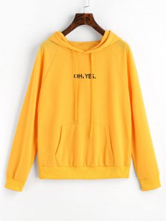 Drawstring Raglan Sleeve Front Logo Hoodie - Yellow M