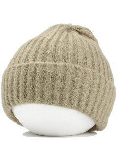 Flanging Crochet Knitted Lightweight Beanie - Khaki