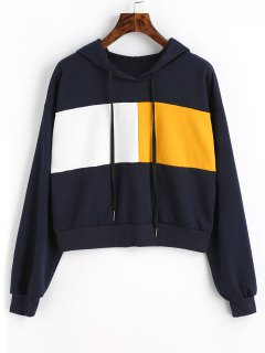 Drawstring Color Block Cropped Hoodie - Purplish Blue S
