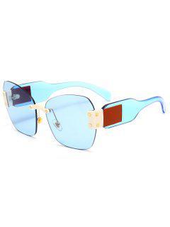 Butterfly Shape Embellished Rimless Oversized Sunglasses - Light Blue