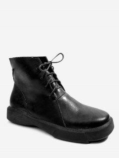 Lace Up PU Leather Boots - Black 36