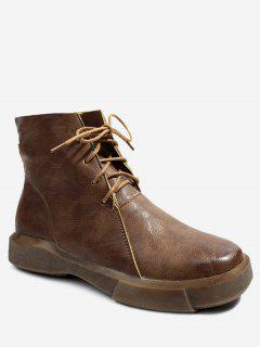 Lace Up PU Leather Boots - Brown 36