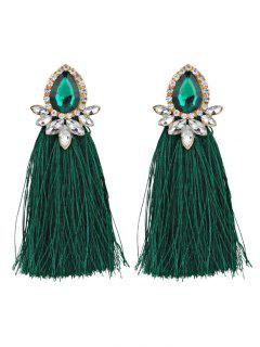 Rhinestoned Faux Gem Teardrop Tassel Earrings - Green