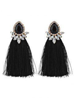 Rhinestoned Faux Gem Teardrop Tassel Earrings - Black