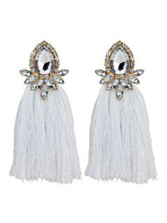Rhinestoned Faux Gem Teardrop Tassel Earrings - White