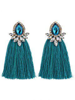 Rhinestoned Faux Gem Teardrop Tassel Earrings - Windsor Blue