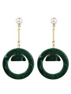 Vintage Acrylic Faux Pearl Circle Earrings - Green