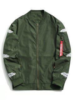 Zipper Feather Print Jacket - Green 5xl