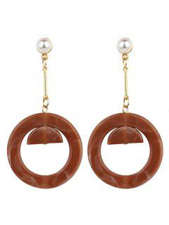 Vintage Acrylic Faux Pearl Circle Earrings - Brown