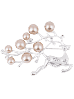 Broche Artificielle Perle Noël Broche - Argent