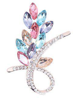 Faux Crystal Rhinestone Floral Brooch