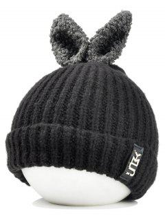 Funny Rabbit Ear Embellished Flanging Knitted Beanie - Black