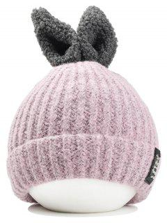 Funny Rabbit Ear Embellished Flanging Knitted Beanie - Pink