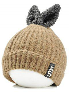 Funny Rabbit Ear Embellished Flanging Knitted Beanie - Khaki