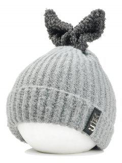 Funny Rabbit Ear Embellished Flanging Knitted Beanie - Light Gray