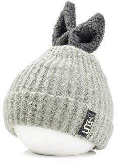 Funny Rabbit Ear Embellished Flanging Knitted Beanie - Off-white