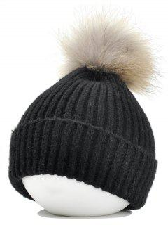 Fuzzy Ball Embellished Flanging Lightweight Beanie - Black