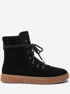 Tie Up Rubber Sole Ankle Boots - Black 40