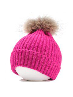 Fuzzy Ball Embellished Flanging Lightweight Beanie - Tutti Frutti