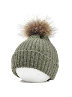 Fuzzy Ball Embellished Flanging Lightweight Beanie - Blackish Green