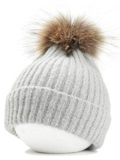 Fuzzy Ball Embellished Flanging Lightweight Beanie - Light Gray