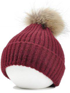 Fuzzy Ball Embellished Flanging Lightweight Beanie - Wine Red
