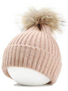 Fuzzy Ball Embellished Flanging Lightweight Beanie - Pink