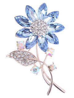 Rhinestone Faux Crystal Sunflower Leaf Brooch - Azul