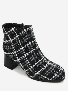 Chunky Heel Tweed Ankle Boots - Black White 36