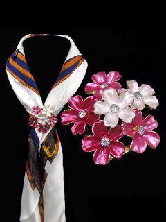 Rhinestone Flower Brooch - Pink