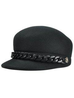 Metal Link Chain Embellished Artificial Wool Pillbox Hat - Black