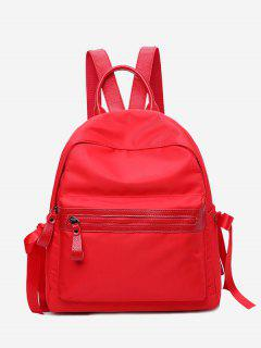 Front Zip Ribbon Backpack With Handle - Red