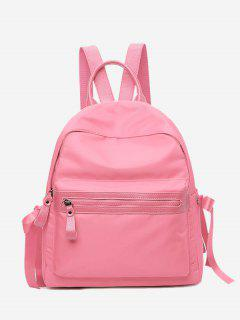 Front Zip Ribbon Backpack With Handle - Pink