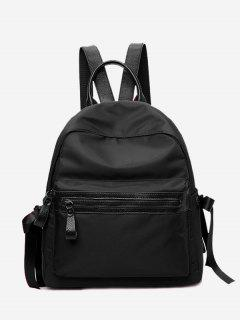 Front Zip Ribbon Backpack With Handle - Black