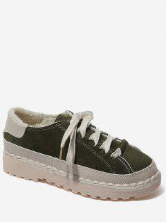 Contrasting Color Whipstitch Casual Shoes - Green 36