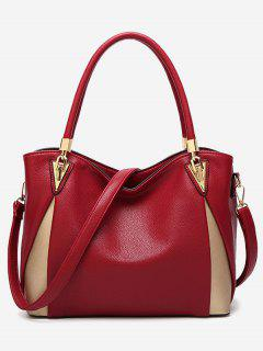 PU Leather Color Blocking Shoulder Bag - Red