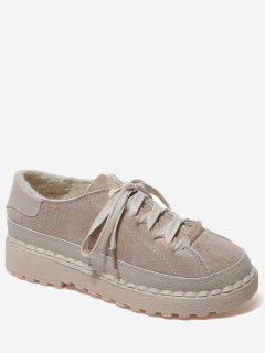 Contrasting Color Whipstitch Casual Shoes - Brown 36