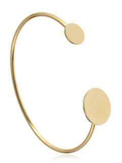 Simple Metal Round Cuff Bracelet - Golden