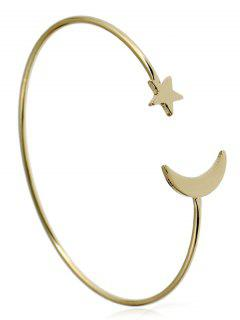 Alloy Star Moon Circle Cuff Bracelet - Golden