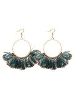 Bohemian Feather Circle Earrings - Blue
