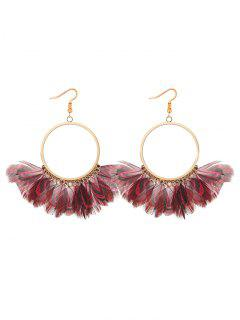 Bohemian Feather Circle Earrings - Red