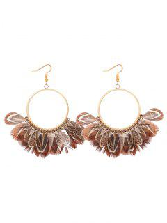 Bohemian Feather Circle Earrings - Coffee