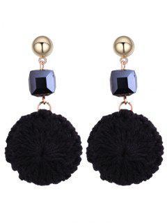 Metal Ball Round Crochet Flower Earrings - Black